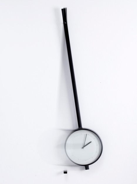 Pendola by  Samuel Wilkinson and Joe Wentworth is a hanging, swinging clock with the clock face in the pendulum