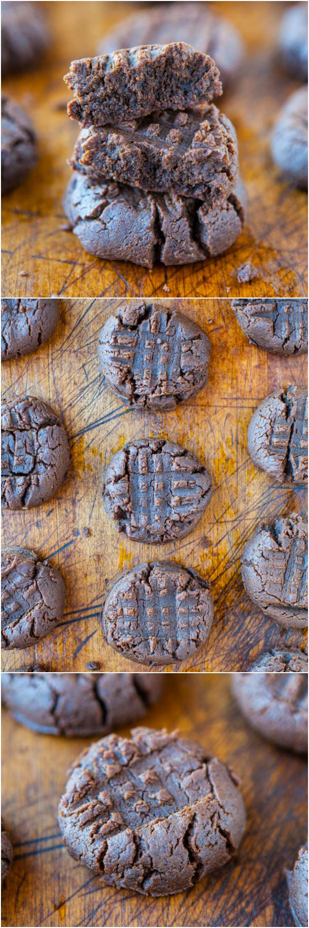 Thick and Soft Chocolate Peanut Butter Cookies (GF) - NO butter & NO flour used in these thick cookies that taste like peanut butter brownies!
