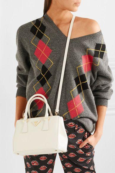 Prada   Galleria small textured-leather tote bag in white   NET-A-PORTER.COM