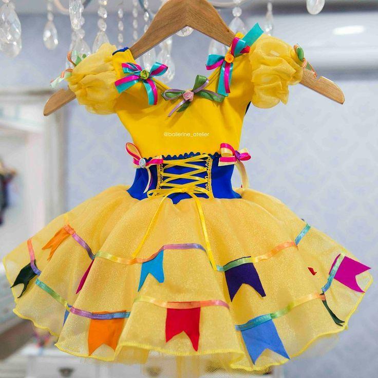 Resultado de imagem para vestido caipira amarelo e azul