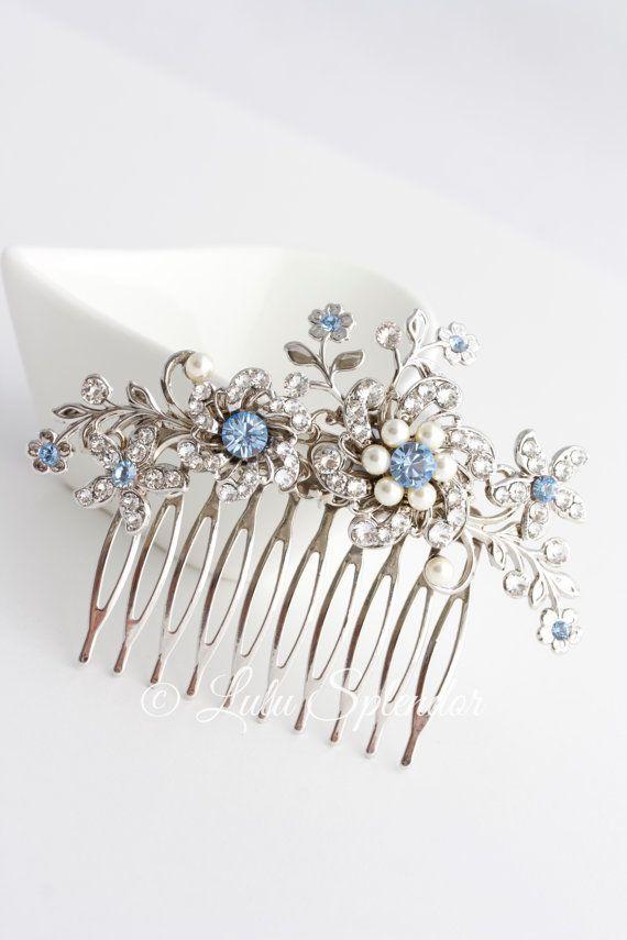 あなたの青い髪櫛光サファイア ブルー ブライダル髪アクセサリー何か青い花結婚式くしザビーネ選択結婚式 by LuluSplendor