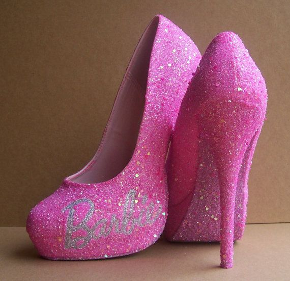 Pink Barbie Glittered High Heels by TattooedMary on Etsy, $110.00