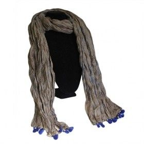 Grey Blue Antique Tassel Scarves - HipAngels - Wholesale Scarves A soft pure Indian tassel cotton scarf in light brown and grey blue colours available wholesale.   Unwrap the twist to release a delightfully crushed cotton textured scarf. Makes a nice display stacked up, and the slight novelty of unwrapping the twist adds to the sales value. We think this is the most beautiful range of Wholesale Indian Scarves made from 100% Cotton. Each scarf has that extra bit of  colour, which will fit…