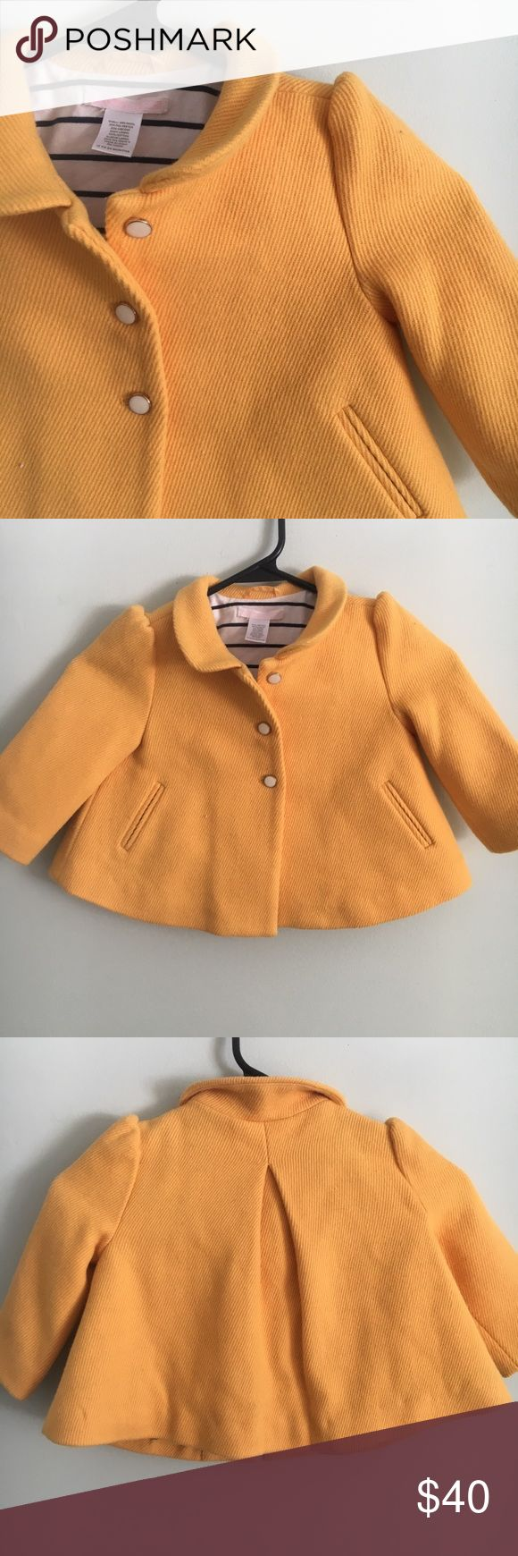 Janie and Jack Toddler Girls Peacoat Mustard yellow peacoat with gold and pearl buttons. Pocket on sides. Exterior in excellent condition. Minor discoloring on right inside (shown in picture) but obviously not seen when worn. Janie and Jack Jackets & Coats