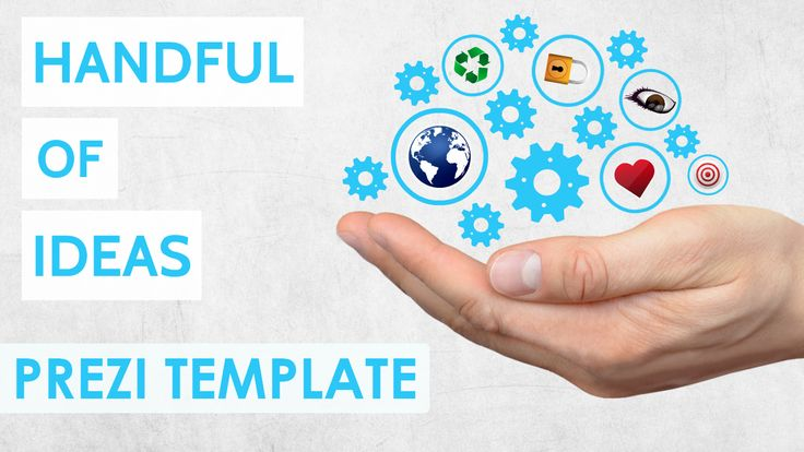Prezi Template for presenting your handful of ideas.  Hand holding blue animated cogs and circle frames as placeholders for content.  Zoom anywhere and add your own text, images or videos.  All the elements are separated, move them around, remove the hand or add your own background image.  Add new icons for the topic you need from the Prezi insert menu
