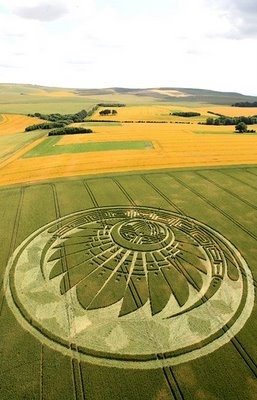 Mayan Motif Crop Circle at Silbury Hill, Wiltshire Reported on the 5th of June 2009. The formation also looks a lot like a traditional Native American / Aztec Feathered Headdress ...