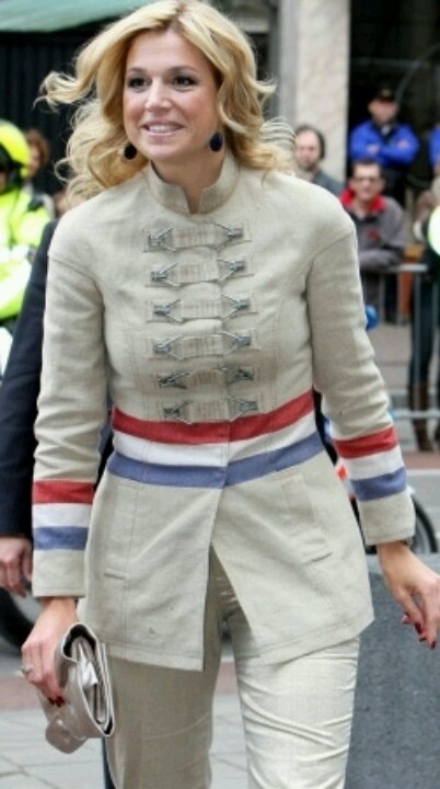 Princess Maxima in a coat by Jan Taminiau, made from historical Dutch postbags :-)Jacket