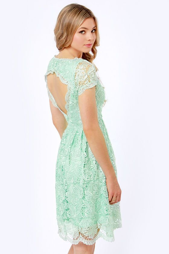 Backless Mint lace dress at LuLus.com. Looks so innocent in the front!