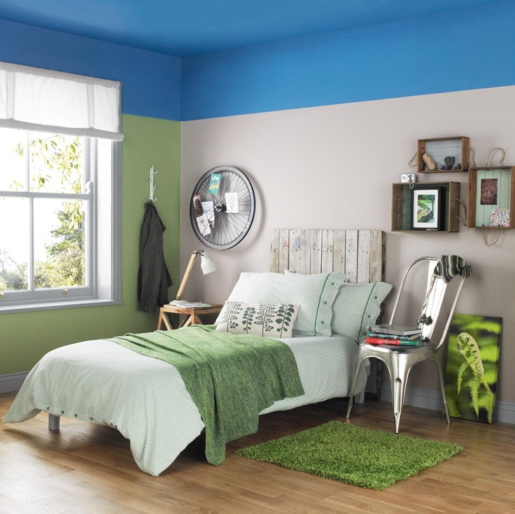 Bedroom With A Blue Ceiling Painted With Crown Solo One