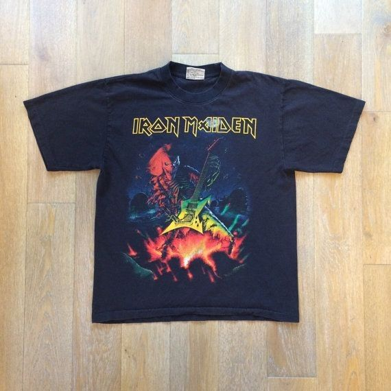 Iron Maiden T-shirt  Black Classic  MED  Vintage by ChubbysVintage