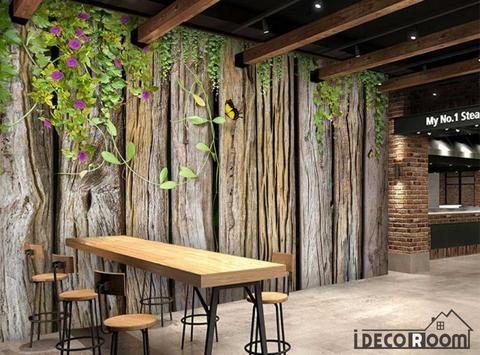 Wooden Wall With Green Leaves Restaurant Art Wall Murals Wallpaper Dec – IDecoRoom