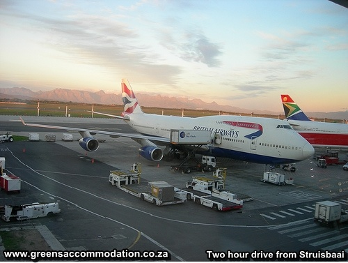 Cape Town Airport , SAA, South African Airways. British Airways. Two hour drive from Struisbaai.