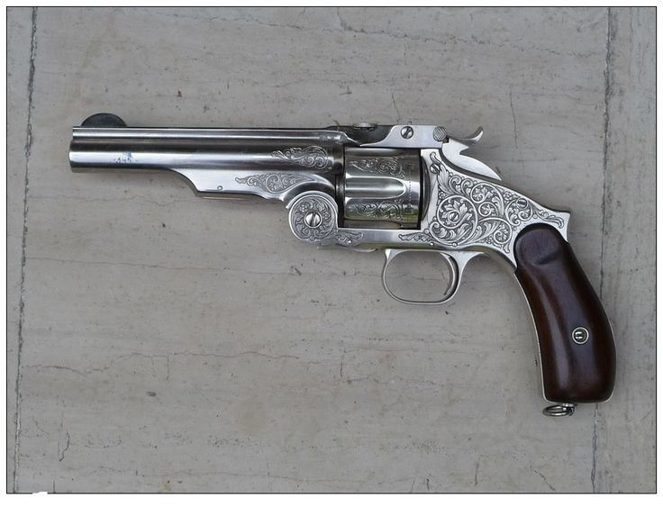 Revolver Smith and Wesson cal 44 .Old Russian 1869. Gravé argenté ...