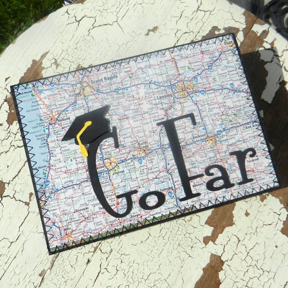 Handmade Graduation Greeting Card - Go Far. $6.00, via Etsy.