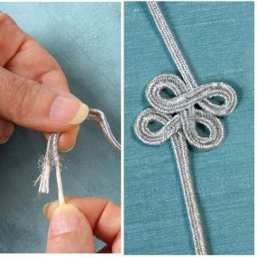 Pull the inner cord of soutache trim to create loops.