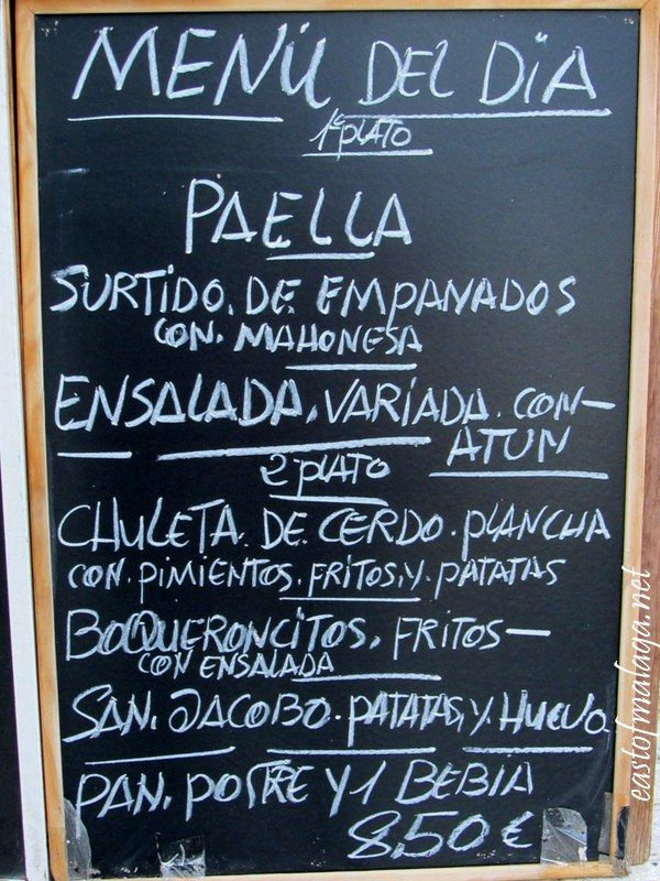 Typical board advertising Menu of the Day, Spain