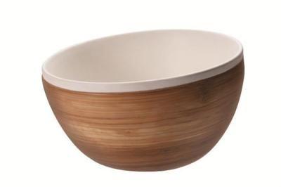 Bambu möter keramik stor Bambu skål med ett inre av keramik. 1,25 liter
