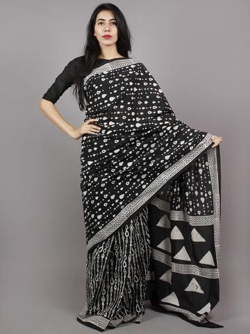 Black White Hand Block Printed Cotton Saree - S031701363