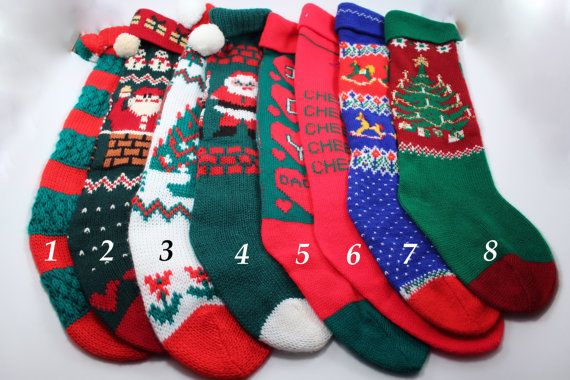 Vintage knit Christmas stockings - Santa, Christmas trees, red and green - very cute and retro! 1980s Christmas stocking