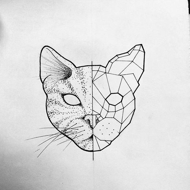 Geometric Line Drawing Tattoo : Best geometric cat tattoo ideas on pinterest