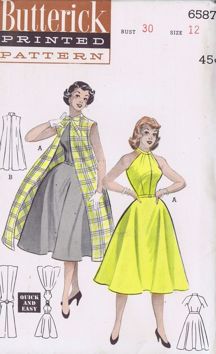 "50s VINTAGE DRESS COAT SEWING PATTERN 6587 BUTTERICK SZ 12 BUST 30 HIP 33"" UNCUT 