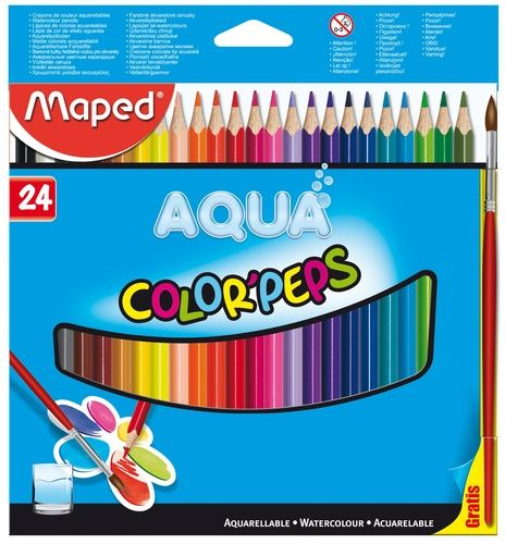 MAPED 24 CORES AQUARELÁVEL LAPIS DE COR COLOR PEPS AQUARELAVEL + PINCEL DE MADEIRA COM 24 CORES