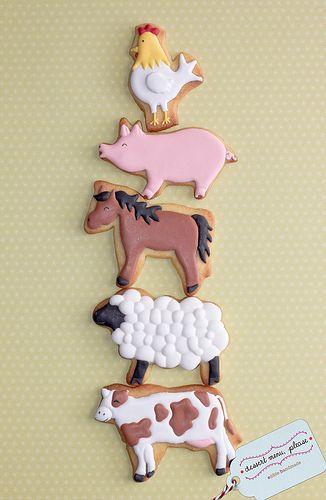 Barnyard animal decorated birthday cookies ~Old MacDonald Had a Farm...pig, chicken, horse, sheep