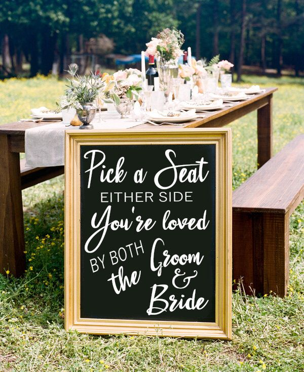 Pick a Seat Not a Side - Chalkboard Decal Sign, Seating Sign, Pick a Seat Sign, Wedding Seating, Wedding Signage, Wedding Decor, Ceremony by EastCoastVinylDecals on Etsy https://www.etsy.com/listing/466520353/pick-a-seat-not-a-side-chalkboard-decal