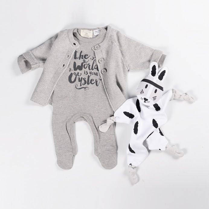 Is this not the cutest gender neutral Winter baby outfit? Wilson & Frenchy's Knitted Coat and The World Is Your Oyster Growsuit, and River Kippin, all available from Baby Dino, www.babydino.com.au