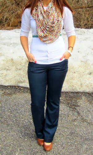work outfit :: colorful scarf + white cardi! Love this!!