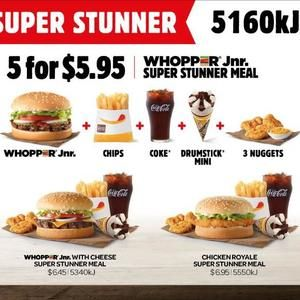 Whopper Jnr Super Stunner - $5.95 @ Hungry Jack's (Burger / Sml Chips / Sml Coke / Mini Drumstick / 3 Nuggets)