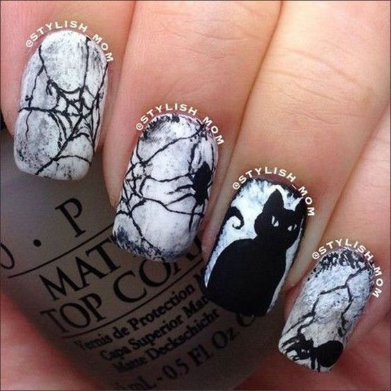 Cobweb nails, Halloween nails, Nails in gothic style, Nails with cats, Night nails, Spider nails, Spooky nails, Teen nails