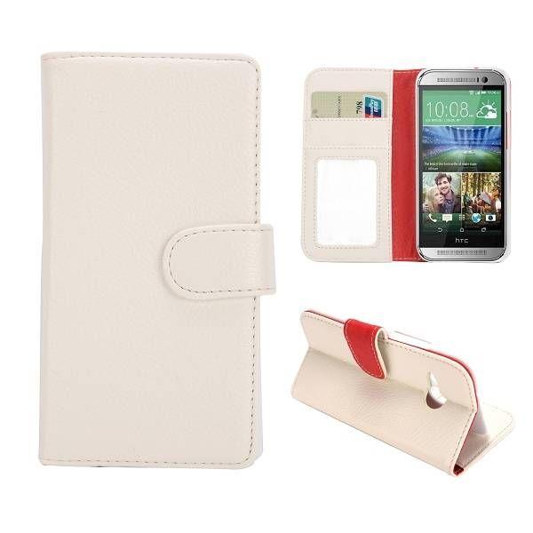 Lychee wit bookcase hoesje voor HTC One Mini 2