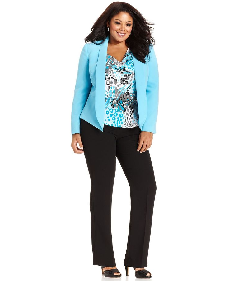 Tahari by ASL Plus Size Suit, Shawl-Collar Blazer, Printed Shell & Pants - Plus Size Sale & Clearance - Plus Sizes - Macys