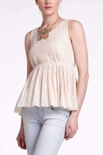 Anthropologie Vanessa Virginia Shirt Pleated Cream Gold Sleeveless Blouse Size 6