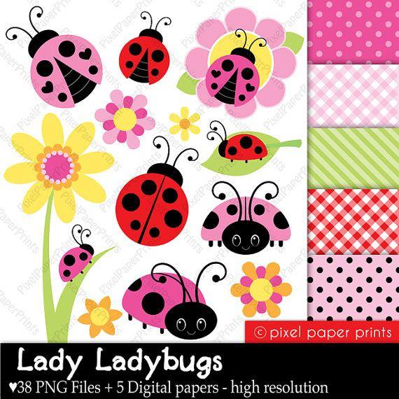 Lady Ladybug  Clip Art and Digital Paper Set by pixelpaperprints, $5.00
