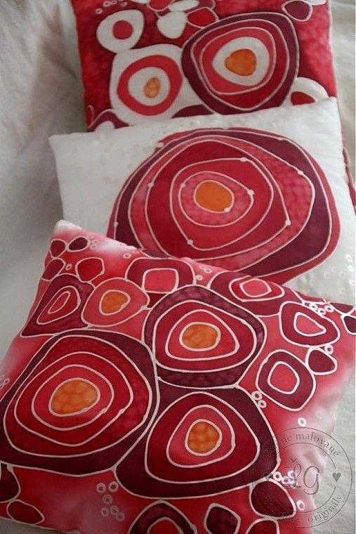 Ručne maľované hodvábne obliečky - set v červenom prevedení. Farby podľa…