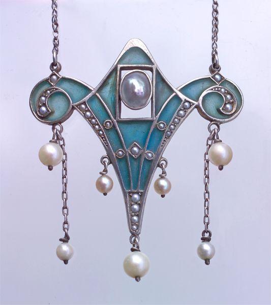 LEVINGER & BISSINGER Pendant  Silver Plique-à-jour enamel Pearl. Z Topia via Carina Case