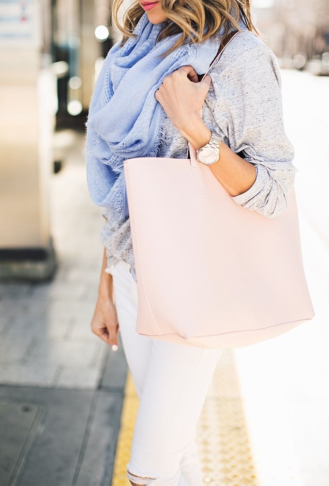 Classic white jeans with soft sweater and pretty blue scarf can take you anywhere.