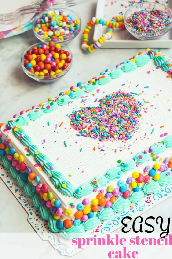 Making A Sprinkle Stencil Ice Cream Cake Is As Easy As 1 2 3 Use A Cookie Cutter And Fun Candies To Persona Cake Decorating For Kids Birthday Sheet Cakes Cake