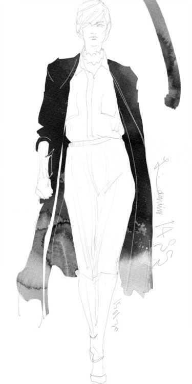 Today's Drawing 150216. The sample photo via internet. Lanvin 2014/SS/Pre
