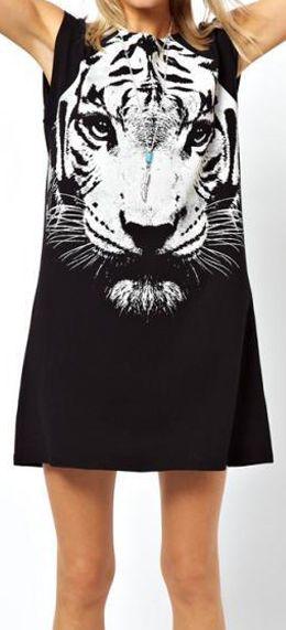 Tiger Head Print Dress
