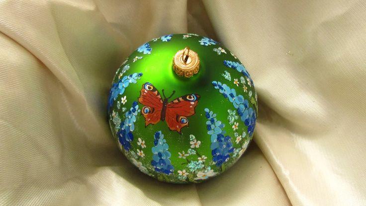 Bombka choinkowa, ręcznie malowana
