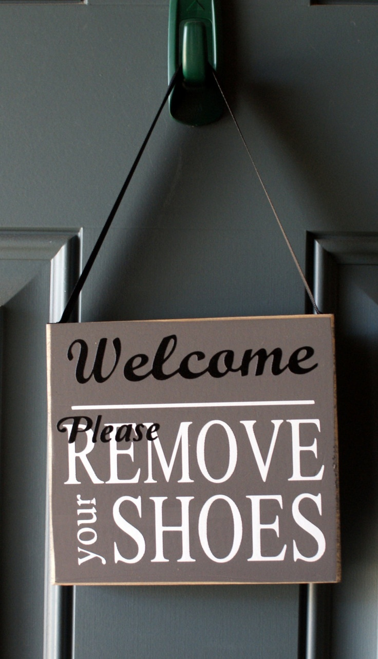 Welcome Please Remove Your Shoes Wood Sign Door Hanger