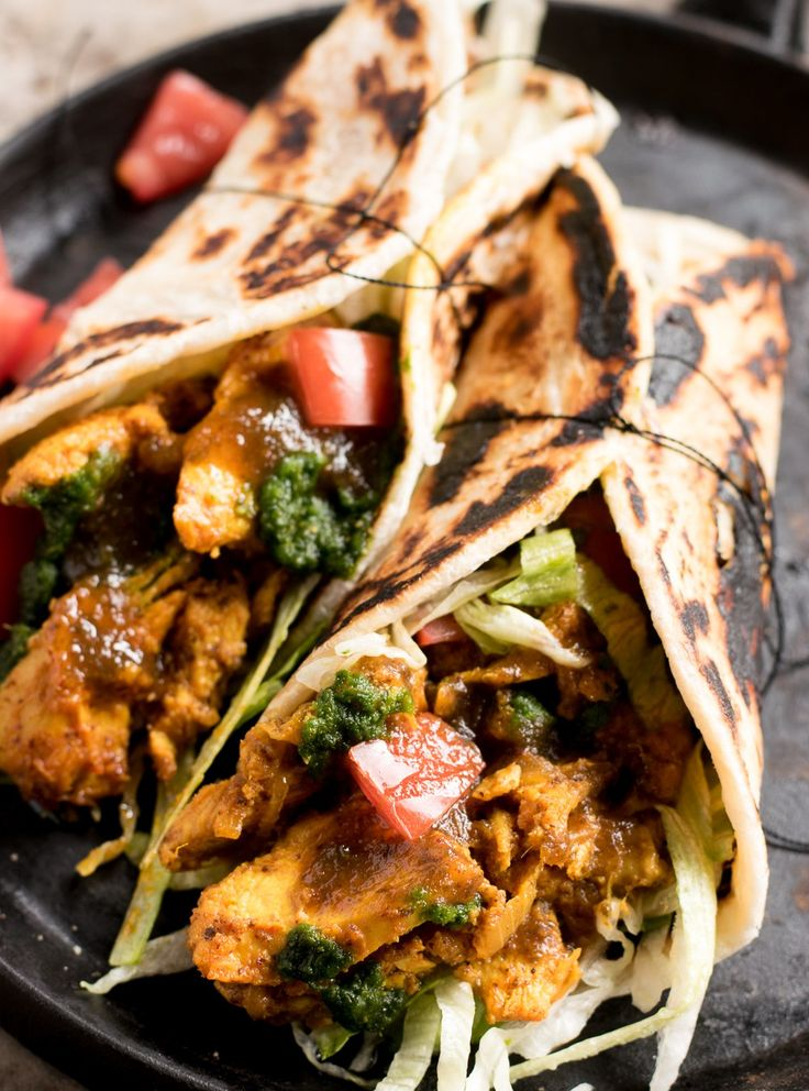 Chicken breast marinated in Indian pickling spices, wrapped in a delicious roti with your favorite toppings makes this the perfect lunch or dinner.