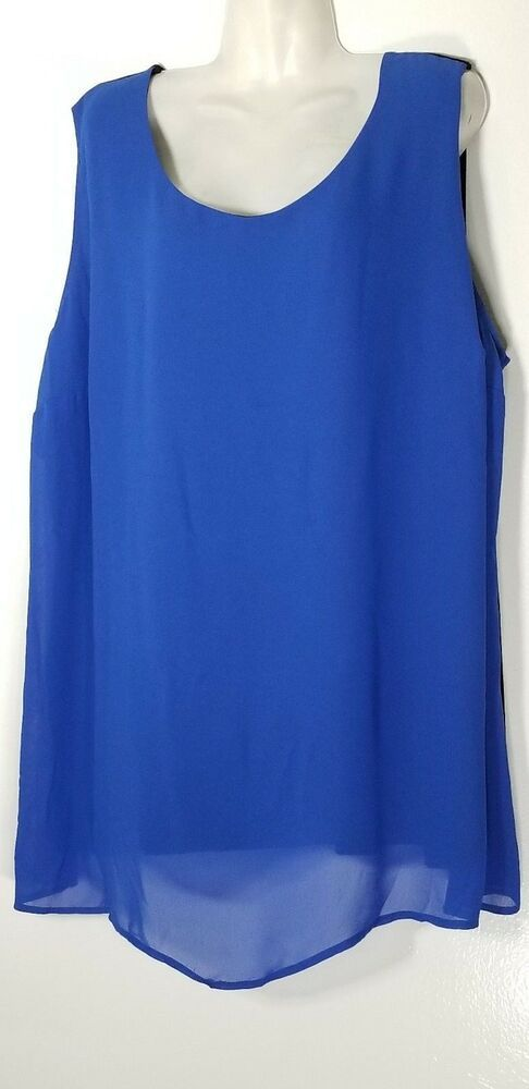531da76d385 CATHERINES ROYAL BLUE   BLACK TUNIC TOP 4X 30 32 PLUS SIZE SLEEVELESS TOP  NEW  Catherines  Blouse  MULTIPURPOSE