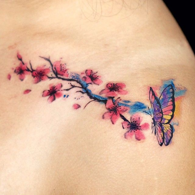 Cherry Blossom With Butterfly Cherry Blossom Tattoo Blossom Tattoo Butterfly Tattoos For Women