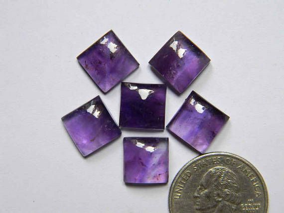6 Pieces Lot 11x11 mm Amethyst Gemstone Cabochons Square
