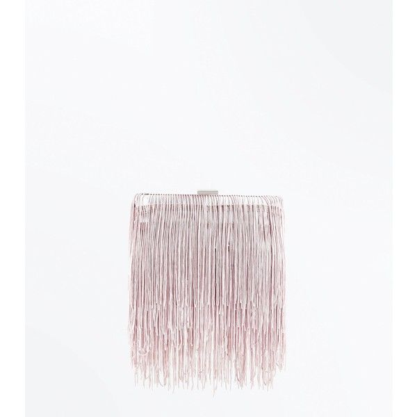 Nude Tassel Fringe Box Clutch Bag ($25) ❤ liked on Polyvore featuring bags, handbags, clutches, cream, nude clutches, tassel handbags, chain strap handbags, white purse and white clutches