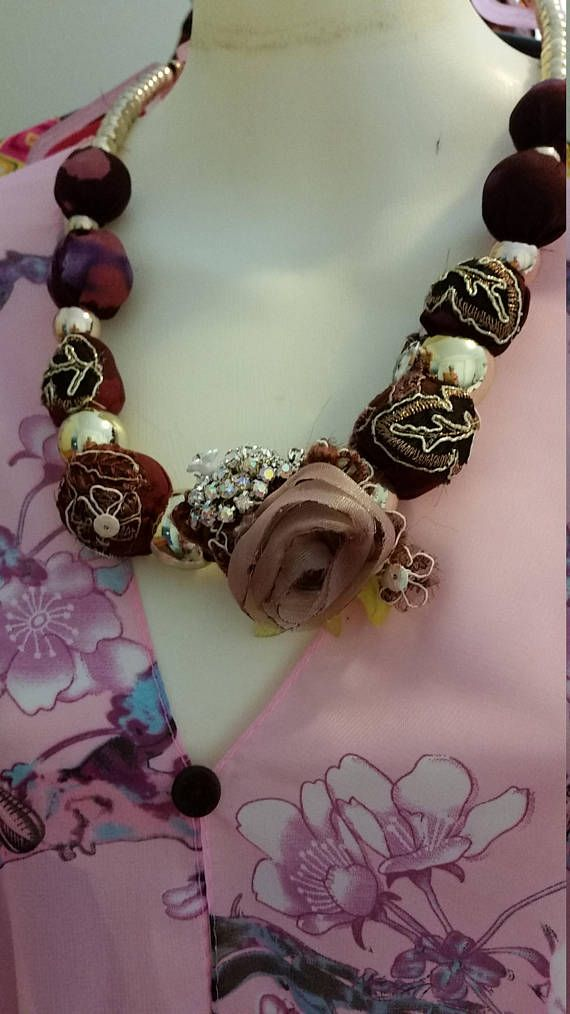 Check out this item in my Etsy shop https://www.etsy.com/au/listing/525699293/statement-necklace-set-fabric-lace
